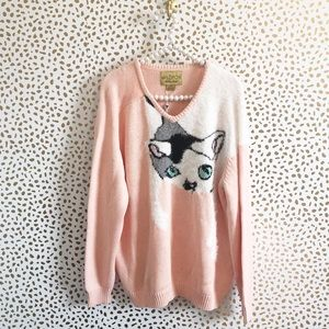 NWT Wildfox White Label Pink Cat Sweater Jumper
